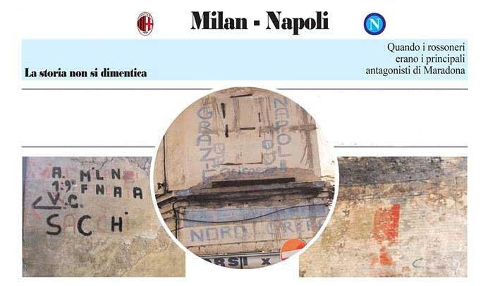 Milan-Napoli una sfida scritta sui muri della citta'
