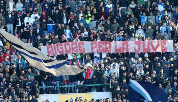 """Napoli: L'ironia della Curva B """"rigore per la Juve"""""""