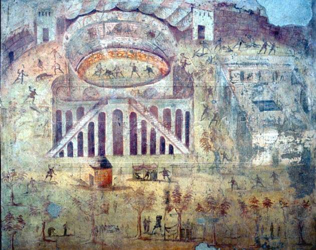 Nerone squalificò l'anfiteatro di Pompei a causa di una rissa tra Nocerini e Pompeani. Ludi Gladiatori