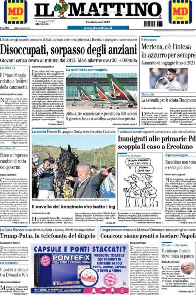 prime pagine dei quotidiani nazionali ed esteri.