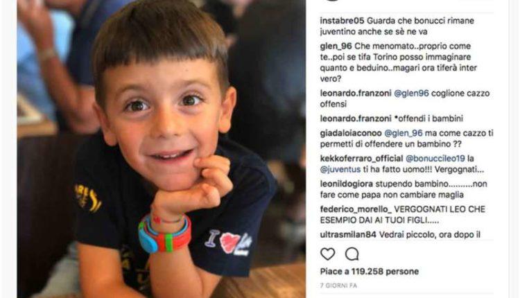 Juventini attaccano il figlio di Bonucci. E il tanto paventato stile Juve?