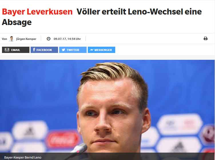 Bayer Leverkusen no al Napoli per Leno