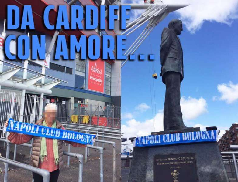 FOTO- Cardiff spunta la sciarpa del Napoli al Millenium stadium