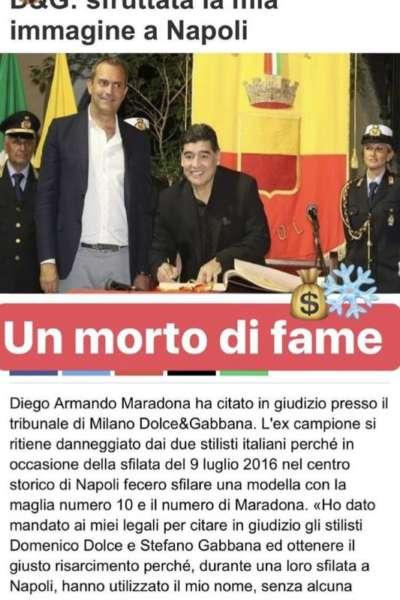 """Pesante post di Stefano Gabbana su Maradona: """" é un morto di fame"""". Il popolare stilista è stato citato in giudizio dal Pibe"""