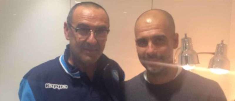 """Il """"terzo tempo"""" di Sarri e Guardiola negli spogliatoi dell'Etihad grazie all'ex pallanotista. I complimenti e la profezia. Azzurri sempre più autorevoli."""