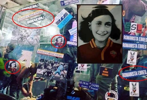 """La serie A rende omaggio alla memoria di Anna Frank ma al momento della lettura del """"Diario"""" dalle curve degli ultrà di Lazio, Roma e Juve partono fischi, sfottò e saluti romani."""