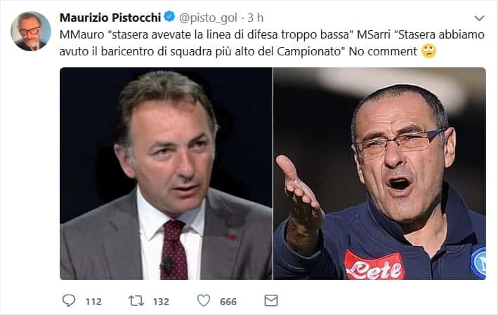 """Mauro contro Sarri, Pistocchi su Twitter: """"no comment"""""""