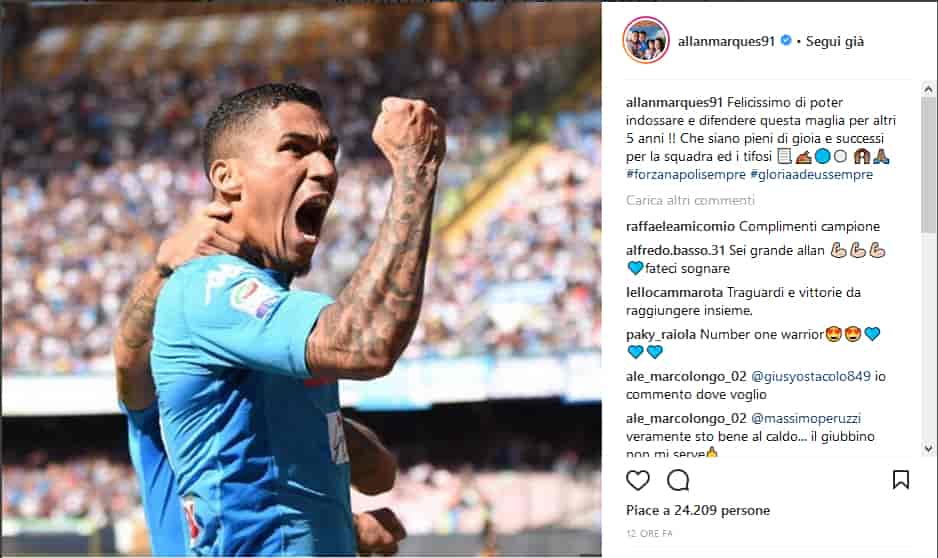 Napoli, Allan rinnova, arriva il messaggio del brasiliano.
