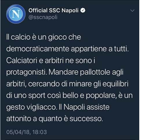 """Proiettili in lega: """"solo il Napoli è stato solidale"""": Lo sfogo di Bucchioni"""