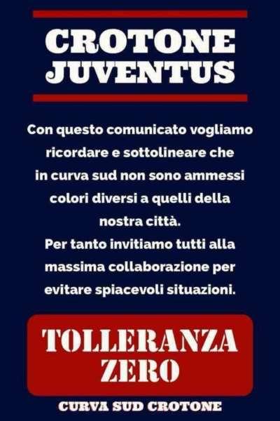 """Comunicato degli ultras del Crotone: """"non volgiamo juventini calabresi allo stadio"""""""
