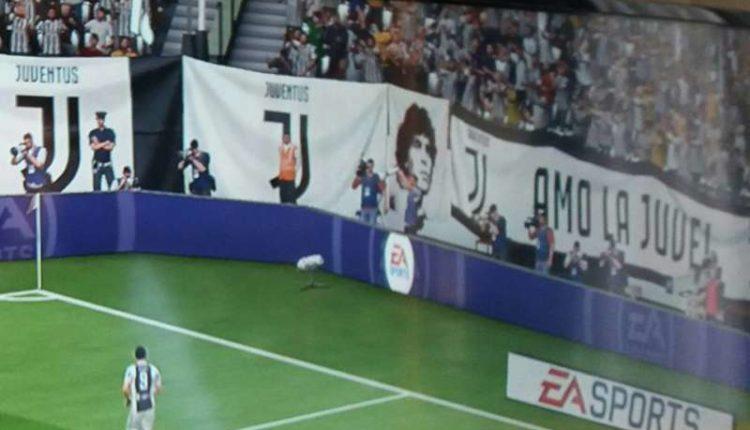 ASSURDO. Su Fifa 2018 l'effige di Maradona nella curva Juventina