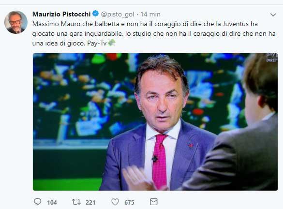 "Juve-Napoli, Pistocchi bacchetta Mauro: ""balbettava in studio...."""