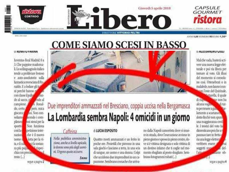 """Il titolo di Libero offende i napoletani: """"ci stupisce che l'articolo..."""""""