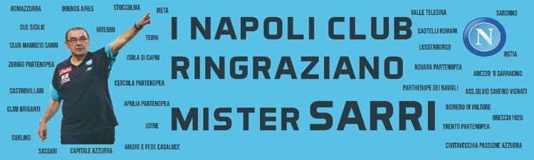 """A Figline Valdarno, compare uno Striscione dei Napoli club per Sarri:""""I Napoli club ringraziano Maurizio Sarri"""". Il tecnico si emoziona."""