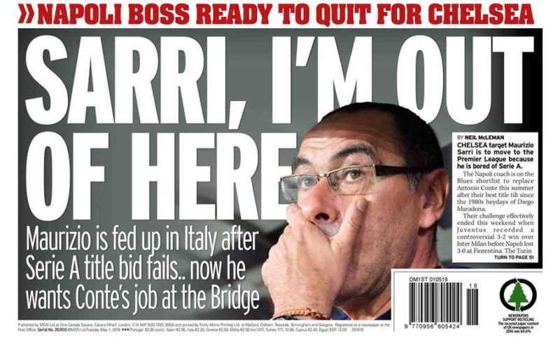 The Mirror: Sarri al Chelsea. Il tecnico pronto a lasciare Napoli