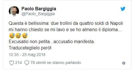 Ancora un Tweet vergognoso di Bargiggia contro i napoletani. Il giornalista di Mediaset stavolta esagera e si lascia andare ad affermazioni vergognose.