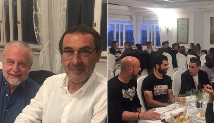 Durante la cena a Villa D'Angelo Aurelio De Laurenttis comunica il premio champions alla squadra. Tanti complimenti per la bella stagione.