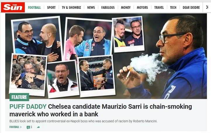 In Inghilterra scoppia la Sarri Mania. La stampa inglese pazza dell'ormai ex tecnico del Napoli che tratta con i 'Chelsea'. Nel Regno Unito  i tabloid parlano e ne raccontano la storia, l'immancabile sigaretta e il Sarrismo.