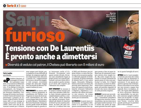 """Maurizio Sarri contro la Gazzetta per il titolo di oggi. La rosea ha scritto che Sarri era pronto alle dimissioni. Immediata la risposta dell'allenatore azzurro: """"io dimettermi? ma che titolo hanno fatto?""""."""