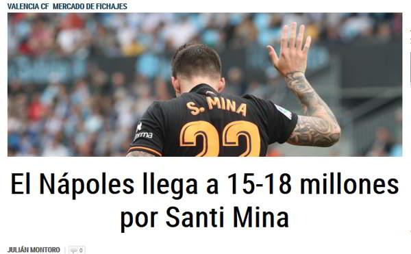 Napoli, Santi Mina. In spagna sicuri il Napoli vuole l'attaccante del Valencia.