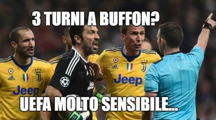 """Buffon squalificato, i social si scatenano. Tra fruttini e patatine, la decisione della Commissione ha provocato tantissime ironie con l'hashtag #Buffon: """"3 turni, Uefa molto sensibile"""""""