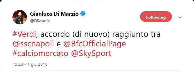 Verdi, accordo raggiunto tra Napoli e Bologna. Operazione da 25 milioni di euro, investimento importante per il Napoli che vuole regalare Verdi a Carlo Ancelotti. Lo riferisce sky sport.
