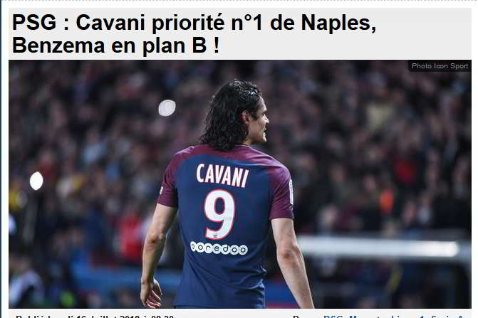 Dalla Francia: Cavani priorità del Napoli, Benzema il piano B.