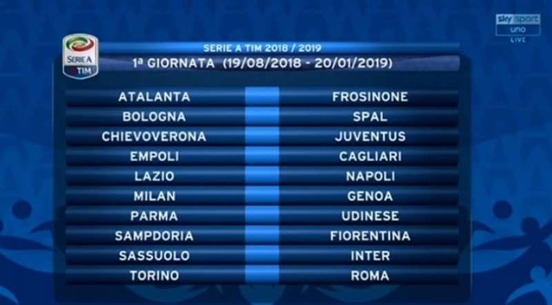 Calendario Iuve.Calendario Serie A 2018 19 Si Parte Con Lazio Napoli La