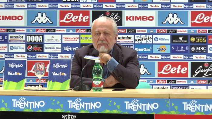 """Dimaro, De Laurentiis: """"Le voci su Cavani? cose da bar. Il Napoli sarà protagonista"""""""
