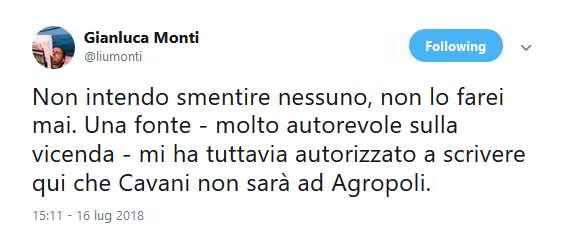 La presenza di Cavani ad Agropoli sembra non trovare conferme. Napoli sogna il ritorno del Matador, ma la gazzetta spegne i sogni dei tifosi azzurri.