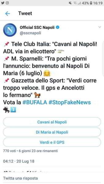 """Il tweet della SSC Napoli: """"vota la bufala"""". Caduta di stile degli azzurri"""
