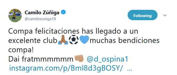 "Napoli, il messaggio di Zuniga a Ospina: ""Dai fratmmmmmm..."""