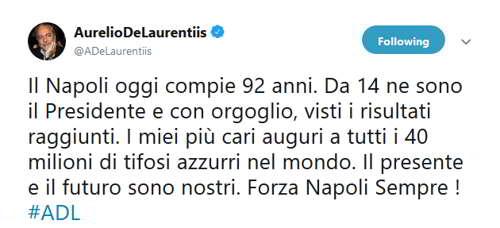 """De Laurentiis: """"auguri calcio Napoli, presente e il futuro sono nostri. Forza Napoli Sempre!"""""""