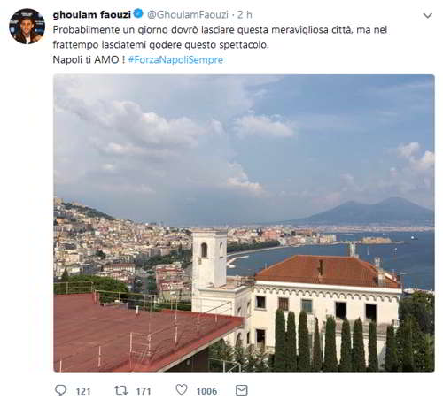 """post di Ghoulam: """"Napoli ti amo, ma un giorno dovrò lasciarti"""""""