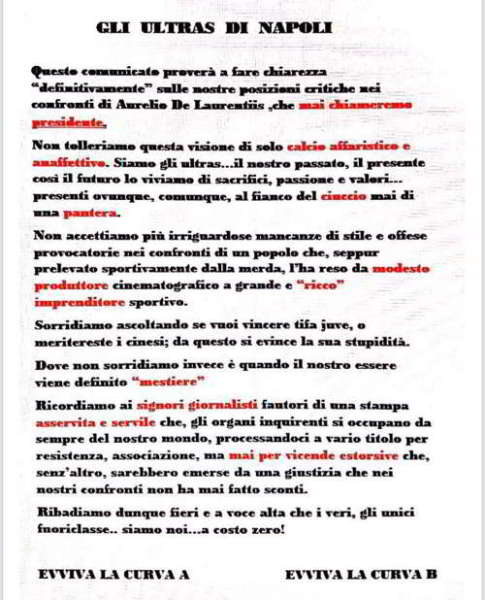 Napoli, volantino delle curve contro De Laurentiis: Ecco Il comunicato della curva A e la Curva B.