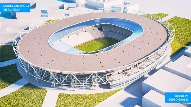 Il nuovo stadio del Napoli a Casoria. nel 1984 l'idea di Ferlaino, 150mila posti, 200 mila metri quadri e un sistema per amplificare voci e rumori del tifo.