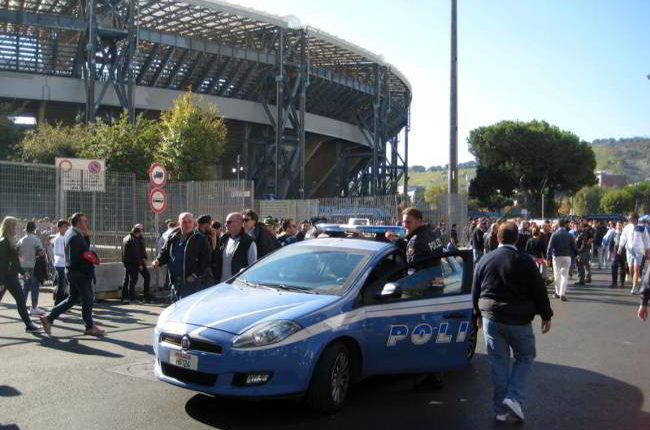Napoli-Liverpool, San Paolo blindato, misure di sicurezza al centro di Napoli.
