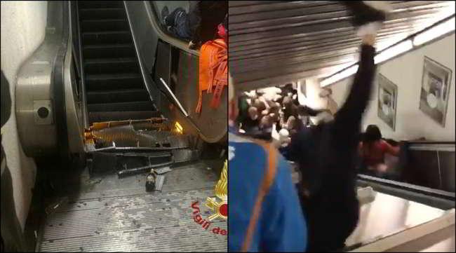 Video Schock. tifosi del Cska fanno crollare una scala mobile nella metro di Roma