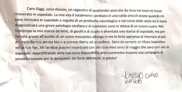 """Commovente lettera di un bambino napoletano a Buffon: """"sono malato vieni..."""""""