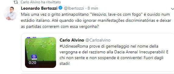 """Udinese-Roma cori contro Napoli: """"Vesuvio lavali con il fuoco!"""". L'appello di Ancelotti inascoltato anche dall'arbitro. Alvino sbotta."""