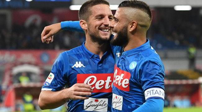 Napoli-Empoli 5-1, tripletta di Mertens e il balletto di Careca