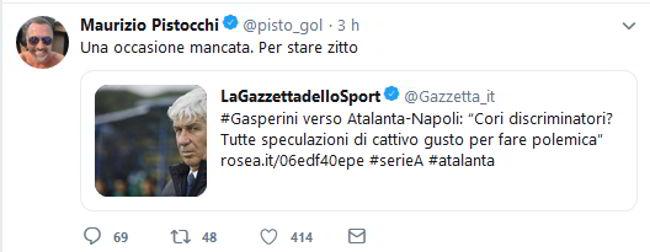 Pistocchi risponde a Gasperini. Tweet velenoso del giornalista