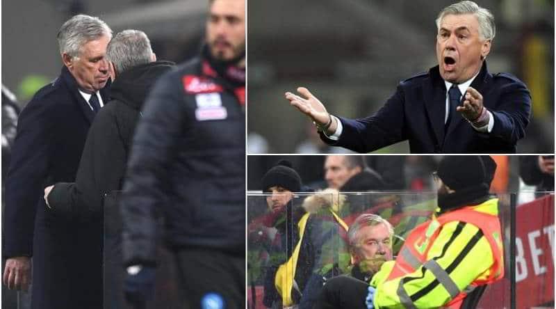 Ancelotti espulso da Doveri durante Milan-Napoli ammette di aver detto una parolaccia. Il tecnico soddisfatto a metà per la gara.