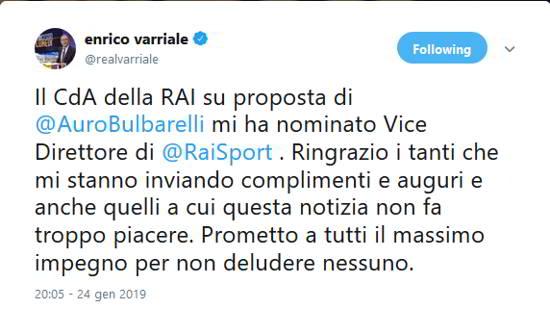 """Varriale vice Direttore di Rai sport. Gli Juventini insorgono """"tifa Napoli..."""""""