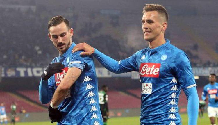 Napoli-Sassuolo 2-0. La squadra di Ancelotti avanti in coppa Italia. Le reti di Milik e Fabian Ruiz. Il Var annulla un Goal al Sassuolo.