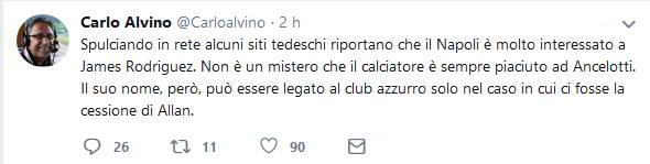 """Alvino: """"Il Napoli su James Rodriguez. Arriva solo in un caso..."""""""
