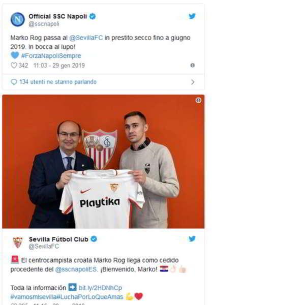 Napoli, Rog in prestito al Siviglia fino a giugno 2019. Lo hanno annunciato il Napoli e la società spagnola sui rispettivi siti ufficiali. Foto di Rito e primo allenamento.