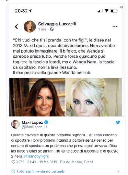 Social, Maxi Lopez contro Wanda Nara e Selvaggia Lucarelli