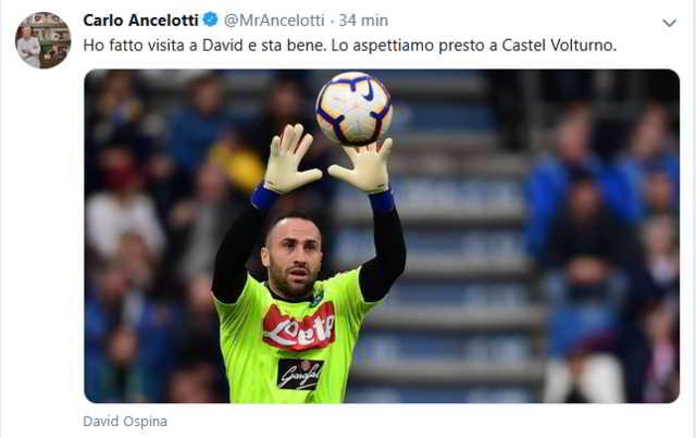 """Ancelotti: """"Ospina sta bene, lo aspettiamo a Castel Volturno"""""""