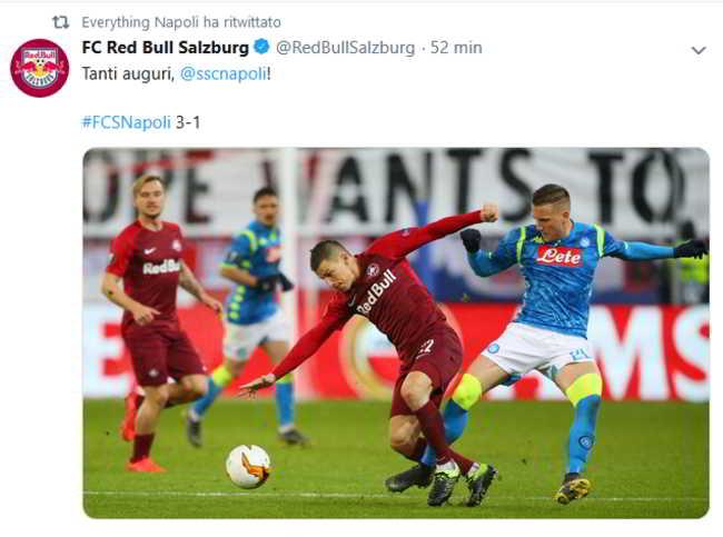 """Tweet del Salisburgo al Napoli: """"Tanti auguri Ssc Napoli"""""""